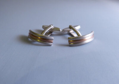 9ct red gold and silver cufflinks