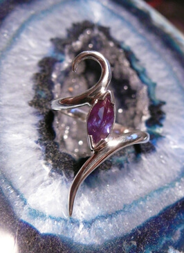 Amethyst marquise shape ring