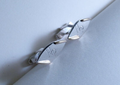 silver and 9ct gold initial cuff links