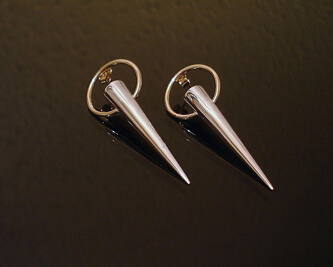 silver and 9ct cone earrings