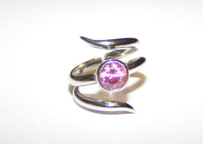 pink tourmanline sliver snake ring