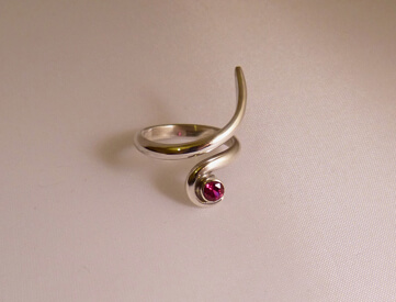 ruby 18ct white gold snake ring