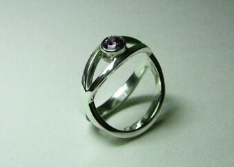 sapphire  silver cross ring