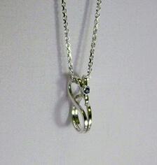 swirly sliver aqua-marine pendant