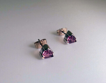 18ct white gold tourmaline trillion cut earrings