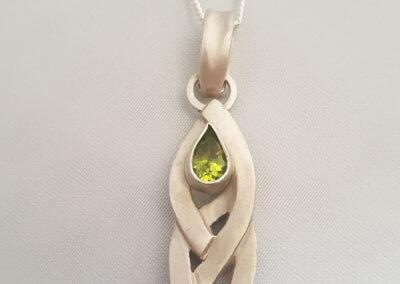 Pear peridot pendant