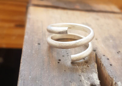 7. form wire in to snake shape for ring